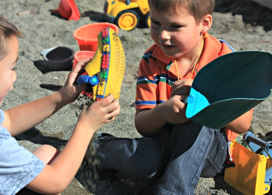 Fun Outdoor Play in the Sandbox at Elim Christian Lake Stevens WA Preschools